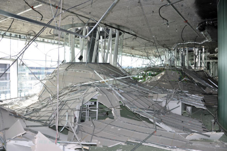 Destruction inside of the Sendai Mediateque after the 2011 Tohuku earthquake, its epicentre off the coast of Japan near Sendai.