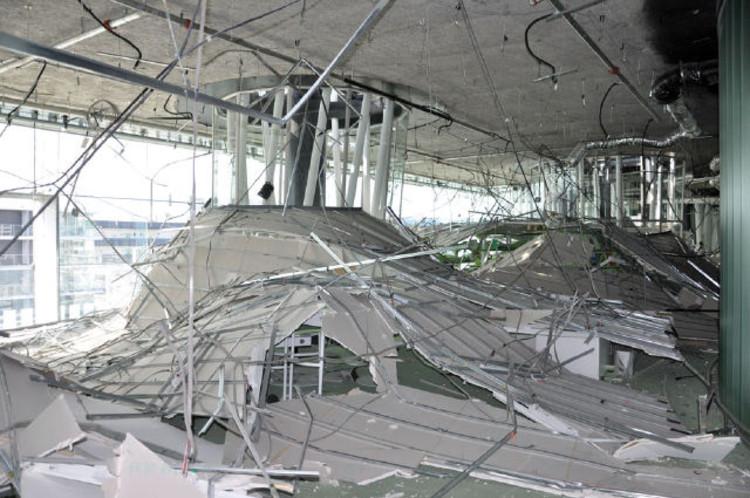 Destruction inside of the Sendai Mediateque after the 2011 Tohuku earthquake, its epicentre off the coast of Japan near Sendai.